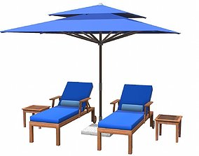 3D asset realtime Lounge Chair and Umbrella