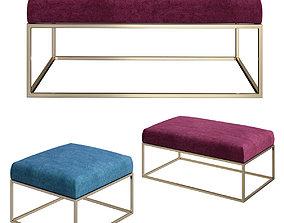 Box Frame Upholstered Bench Ottoman Westelm 3D
