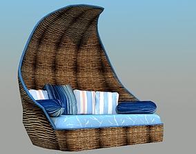 3D asset Wicker Sofa - Low Poly