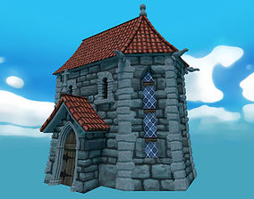 3D asset Low poly cartoon chapel