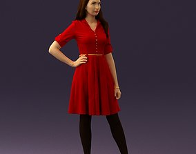 Woman in red dress 0408 3D Print ready