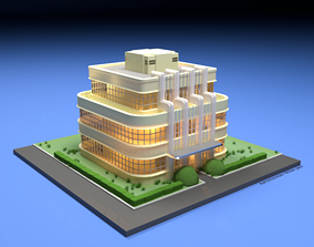 low-poly 3D model Art Deco House - With texture