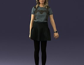 Blonde in a skirt with a tattoo 0267 3D Print Ready