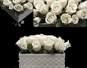 3D model white flowerbox bouquet