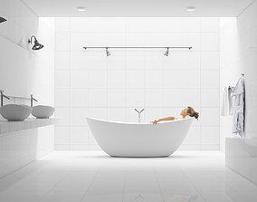 A minimalist modern bathroom 3D model