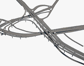 3D model Highway Road Junction skyway