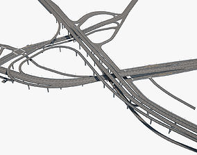 3D model Highway Road Junction skyway