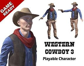Western Cowboy 3 3D model animated