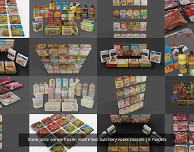 Store juice cereal frozen food meat butchery 3D model 1