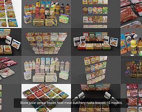 Store juice cereal frozen food meat butchery 3D model 1