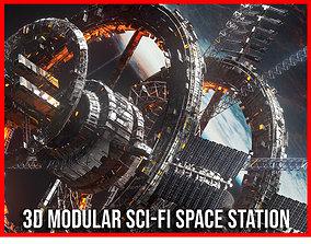 3D model Modular Sci Fi Space Station Ship Vehicle