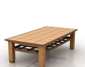 Wooden Table With Lattice Design 3D
