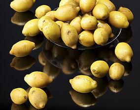 Lemons in a glass plate 3D model