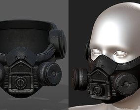 Gas mask helmet 3d safety isolated Black VR / AR ready