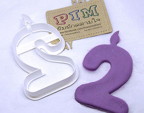 4 inches candle number 2 cookie cutter 3D printable model