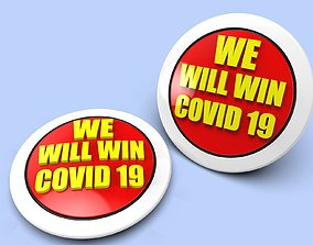 Badge WE WILL WIN COVID 19 for 3D printing we