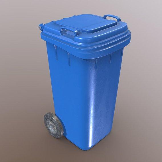 Plastic waste bin blue 120 liters 936x550x482