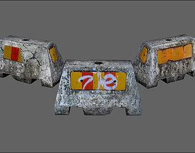 Concrete road block barrier pack 3D model