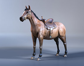 Horse with Saddle 3D Model with Mental Ray Materials
