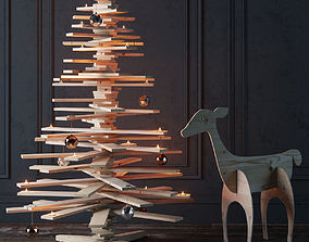 3D New Year set with a Christmas tree