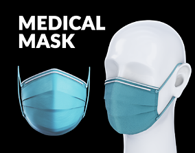 Medical - Surgical face mask with dummy head 3D model