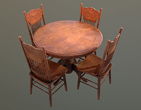 Wooden Table And Chairs 01 Dive Bar - PBR Game 3D model