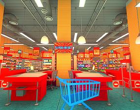 Supermarket interior 3D asset