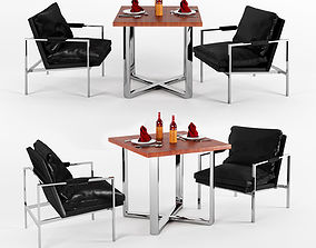 3D Unusual Chrome Lounge Chairs In Leather At