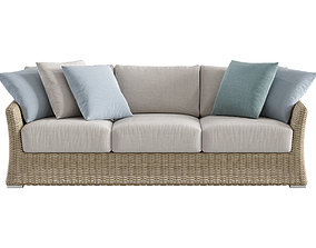 3D model Savannah Outdoor Wicker Three Seater Sofa