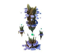 Game Model - broken prominent rock pillars 3D