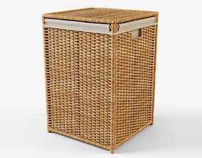 Wicker Laundry Basket 04 3D model