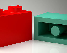 Lego Brick 1x2 Orginial Size Ready for Print and Games