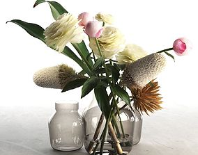 3D Glass Vases With Flowers 2