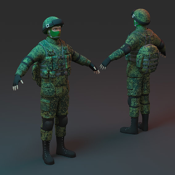 Soldier Low-poly 3D model