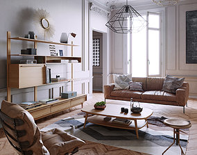 Mid Century interior scene 3D