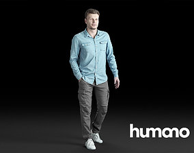 Humano Casual Man in blue shirt Walking and talking 3D