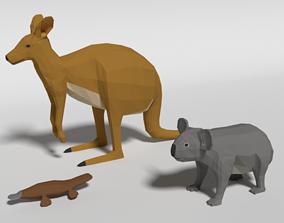 3D Low Poly Cartoon Australian Animals Pack