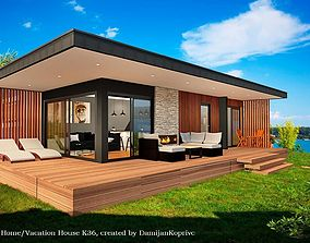 3D asset mobile home vacation house tiny house on