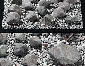 3D model Square pebble stone street decor