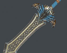 Fantasy sword 25 with scabbard 3d model game-ready