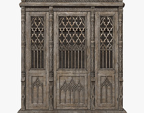Gothic Bookcase 3D asset game-ready