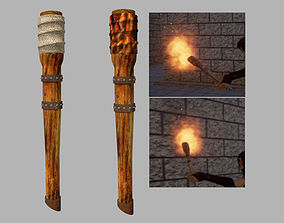 Torch Medieval Wooden 3D Game Asset VR / AR ready