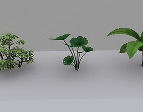Green plants game in low mold 3D asset