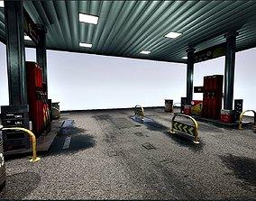 3D model VR / AR ready Gas station package UE4-FBX-V01