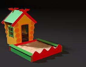 Childrens playhouse with a sandbox 3D