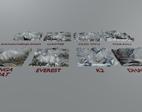 Highest Mountains in The World Everest etc 3D asset