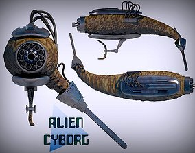3D model Alien cyborg with huge gun and chainsaw