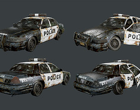 Vehicle Abandoned Wrecked Police Car 3D asset