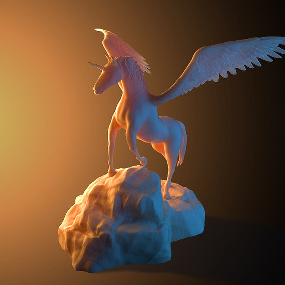 Unicorn on rock