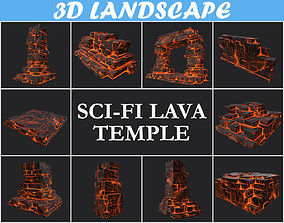 3D volcano Low poly Lava Temple Block Pack 181116